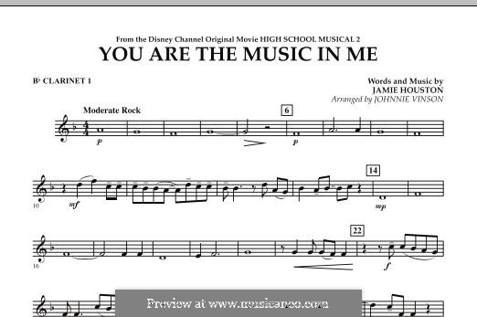 You are the Music in Me (High School Musical 2): Bb Clarinet 1 part by Jamie Houston