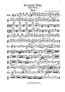 Gourmand-Polka, Op.163: For violin, cello, flute, cornet and piano – flute part by Émile Waldteufel