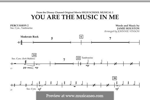 You are the Music in Me (High School Musical 2): Percussion 2 part by Jamie Houston