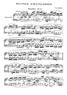 Suite No.5 in G Major, BWV 816: For piano by Johann Sebastian Bach