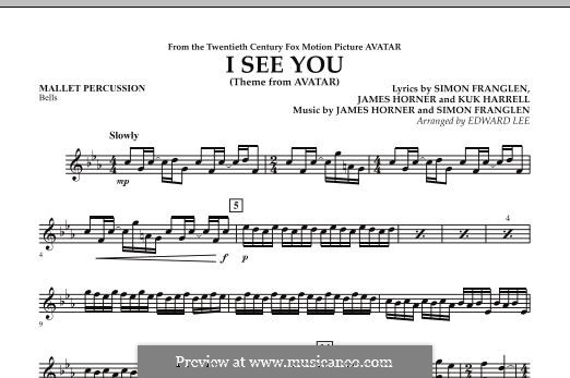 I See You (Theme from Avatar): Mallet Percussion part by James Horner, Simon Franglen