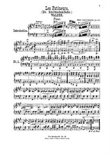 Les Patineurs (Ice Skaters), Op.183: For violin, cello, flute, cornet and piano – piano part by Émile Waldteufel