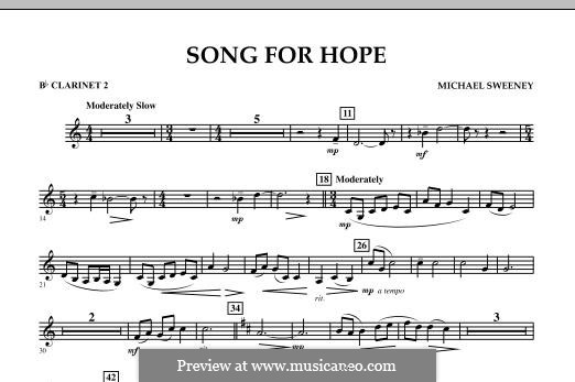 Song for Hope: Bb Clarinet 2 part by Michael Sweeney
