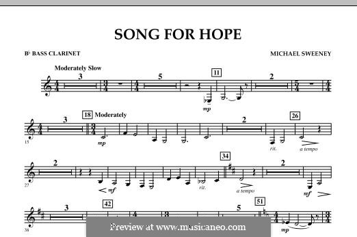 Song for Hope: Bb Bass Clarinet part by Michael Sweeney