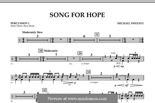 Song for Hope: Percussion 1 part by Michael Sweeney