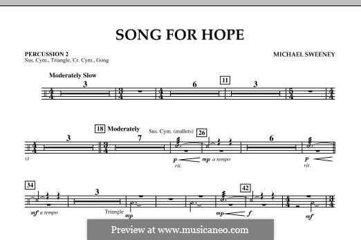 Song for Hope: Percussion 2 part by Michael Sweeney
