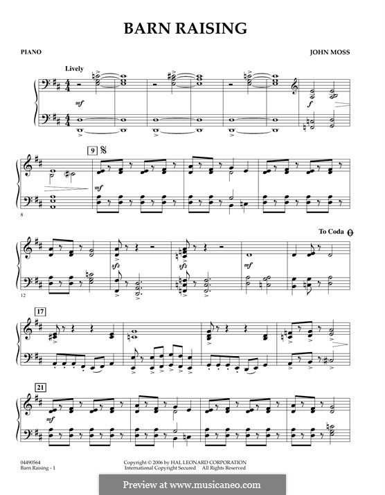 Barn Raising: Piano part by John Moss