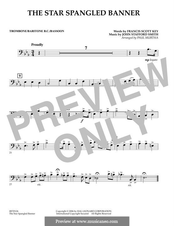 The Star Spangled Banner (National Anthem of The United States). Printable Scores: Trombone / Baritone B.C. / Bassoon part by John Stafford Smith