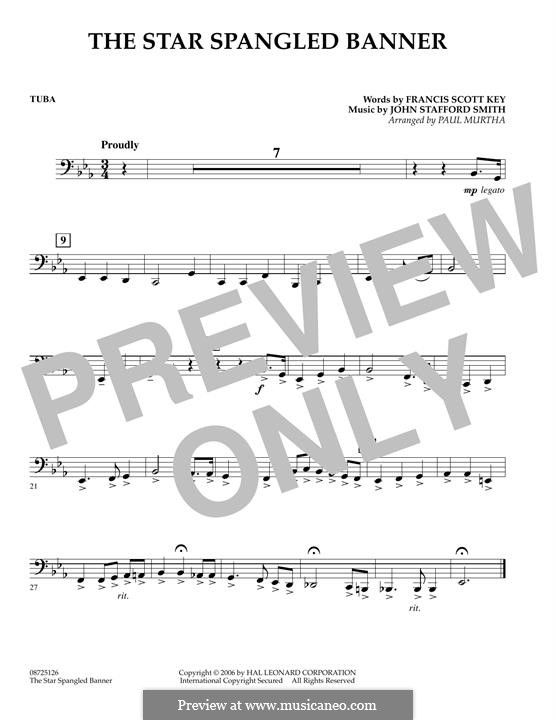 The Star Spangled Banner (National Anthem of The United States). Printable Scores: Tuba part by John Stafford Smith