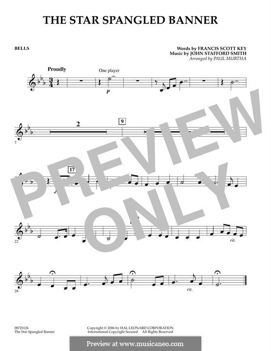 The Star Spangled Banner (National Anthem of The United States). Printable Scores: Bells part by John Stafford Smith