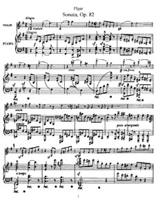 Sonata for Violin and Piano, Op.82: Score by Edward Elgar
