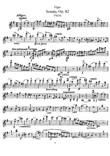Sonata for Violin and Piano, Op.82: Solo part by Edward Elgar