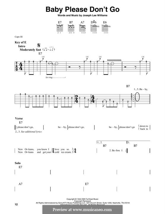 Baby, Please Don't Go (Them): For guitar with tab by Joseph Lee Williams