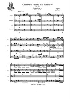Chamber Concerto in B flat major for Strings and Cembalo, RV 166: Version for string quartet by Antonio Vivaldi