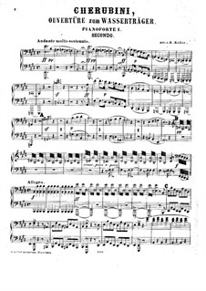 Les deux journées (The Two Days): Overture, for Two Pianos Eigh Hands – Piano I Part by Luigi Cherubini