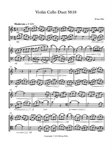 Violin Cello Duet in A minor by B  Ellis - free download on