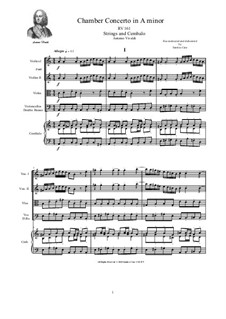 Concerto for Strings in A Minor, RV 161: Score and parts by Antonio Vivaldi
