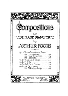 Melody for Violin and Piano, Op.44: Solo part by Arthur Foote