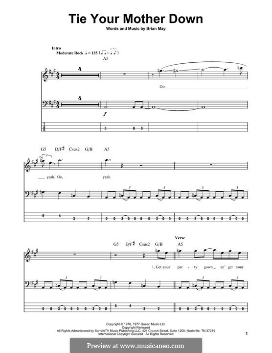 Tie Your Mother Down (Queen): For bass guitar with tab by Brian May