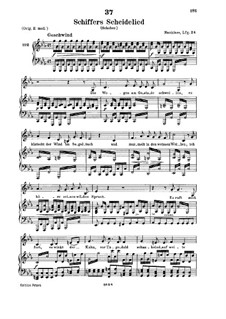 The Sailor's Song of Farewell (Schiffers Scheidelied), D.910: For low voice and piano by Franz Schubert