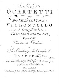 Six String Quartets, Op.8: Cello part by Tommaso Giordani