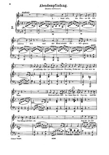 Abendempfindung, K.523: For high voice and piano by Wolfgang Amadeus Mozart