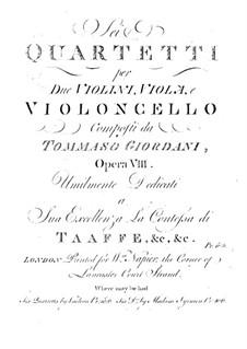 Six String Quartets, Op.8: Violin I part by Tommaso Giordani