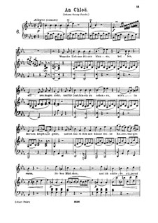 An Chloe, K.524: For high voice and piano by Wolfgang Amadeus Mozart