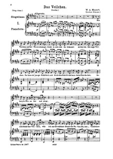 The Violet, K.476: For medium voice and piano by Wolfgang Amadeus Mozart