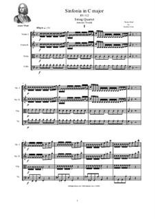 Sinfonia in C Major for Strings and Cembalo, RV 112: Version for string quartet by Antonio Vivaldi