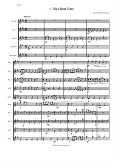 Sweet Suite: Blue Boar Blue for flute quintet (piccolo, 2 flutes, alto flute and bass flute) by David W Solomons