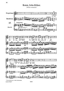 Komm, liebe Zither, K.351 (367b): For high voice and piano by Wolfgang Amadeus Mozart