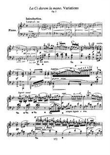 Variations on Theme 'Là ci darem la mano' from 'Don Giovanni' by Mozart, Op.2: For piano by Frédéric Chopin