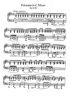 Polonaises, Op.40: No.2 for piano in C Minor by Frédéric Chopin