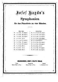 Symphony No.92 in G Major 'Oxford', Hob.I/92: Version for piano four hands by Joseph Haydn