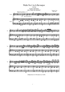 Two Violin Waltzes for Violin and Piano: Scores and part, CS2502 by Santino Cara