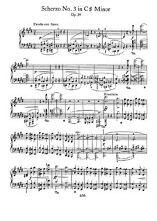Scherzo No.3 in C Sharp Minor, Op.39: For piano by Frédéric Chopin