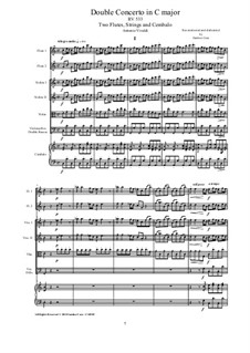 Concerto for Flute and Piano in C Major, RV 533 Op.47 No.2: Version for two flutes, strings and cembalo by Antonio Vivaldi