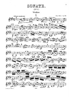 Sonata for Violin and Piano in E Major, Op.112: Solo part by Hans Huber