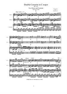 Concerto for Flute and Piano in C Major, RV 533 Op.47 No.2: Version for two flutes and cembalo (or piano) by Antonio Vivaldi