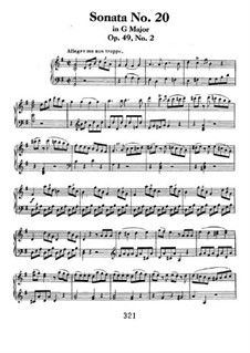 Sonata for Piano No.20, Op.49 No.2: For a single performer by Ludwig van Beethoven