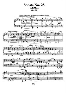 Sonata for Piano No.28, Op.101: For a single performer by Ludwig van Beethoven