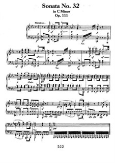 Sonata for Piano No.32, Op.111: For a single performer by Ludwig van Beethoven
