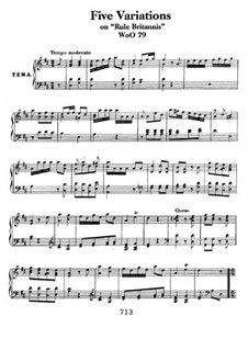 Five Variations on the Popular English Song 'Rule Britannia', WoO 79: For piano by Ludwig van Beethoven