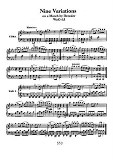 Nine Variations on March by Dressler, WoO 63: For piano by Ludwig van Beethoven