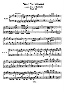 Nine Variations on Aria by Paisiello, WoO 69: For piano by Ludwig van Beethoven