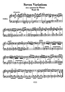 Seven Variations on Theme from 'Das unterbrochene Opferfest' by P. Winter , WoO 75: For piano by Ludwig van Beethoven