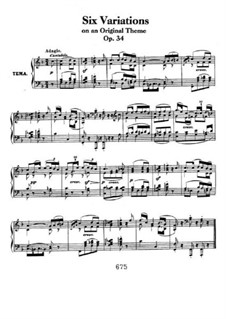 Six Variations, Op.34: For piano by Ludwig van Beethoven