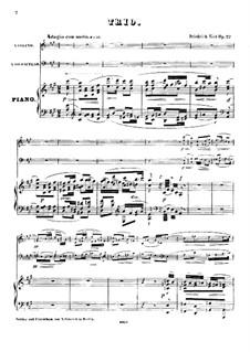 Piano Trio No.2 in A Major, Op.22: Full score by Friedrich Kiel
