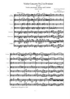 Concerto for Violin and Strings in D Minor, RV 244 Op.12 Nr.2: Score and parts by Antonio Vivaldi